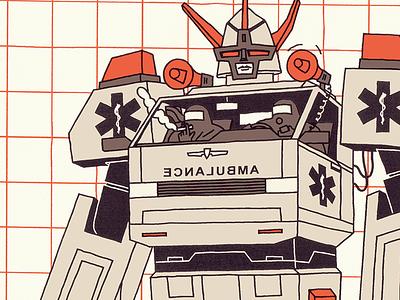 Ambulance life doctor hospital help aid ambulance machine robot corona virus covid illustration