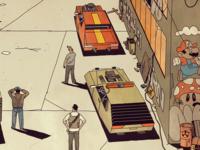 FUTURO DARKO: Eastwards smoke people cars day road street city town future book comic illustration