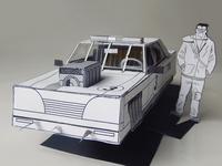 BUILD YOUR OWN FUTURO DARKO CAR cut parts build driver muscle 3d model papercraft illustration car paper