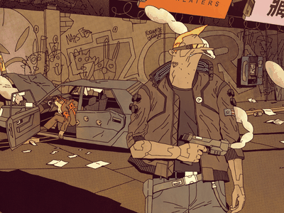 Jacket hero glasses danger blood future gun night city street cyberpunk illustration jacket