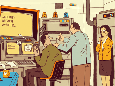 Security room success coffee work teamwork security cyber computer team people illustration editorial