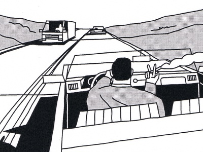 Almost there roadtrip driver man hill space highway car journey travel road comic illustration