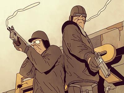 Bronski Bros splash waste future dark pistol action desert bar gun comic brothers illustration