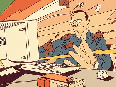 Online Indignation article dirt desk emoji illustration editorial attack man computer storm web online