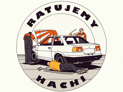 AE86 toyota machine cool parts workshop service old fix repair sticker car illustration