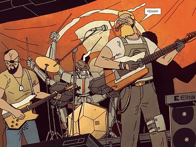 FUTURO DARKO/Stick N Stones/Page 02 illustration party drums guitar band metal rock concert gig music comic futurodarko
