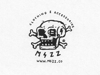 MSZZ Skull symbol mark logo drawn hand metal heavy death robot bones mszz skull