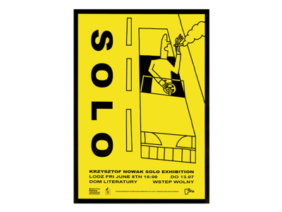 Solo  Exhibition Poster yellow design letters man road smoke illustration exhibition car show solo poster