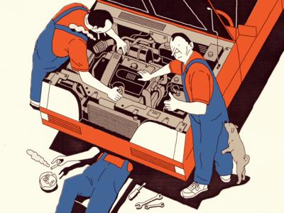 TIP TOP illustration team tools engine engineer care workshop fix service repair mechanic car