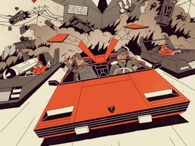 FUTURO DARKO poster future dark typography cover book comic illustration villain hero desert car