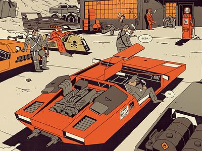 FUTURO DARKO: The Fortune's Den beer bar motor illustration hero future desert dark frame comic car book
