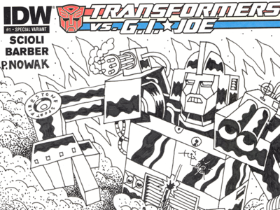 Sgt. Slaughter Vs. Optimus Prime hero guns illustration tank robot ink drawn hand drawing blank cover comic