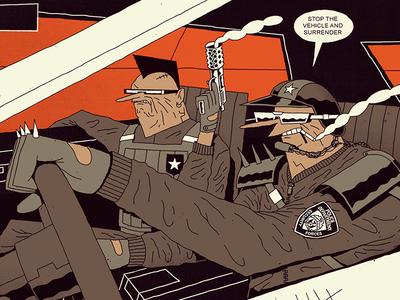 FUTURO DARKO: Pig Patrol speed world action future dark patrol pig squad car police cop illustration