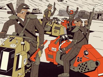 FUTURO DARKO: Bikers future dark member gang desert road highway bike motor book comic illustration