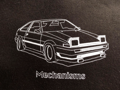 Toyota AE86 Trueno white black classic illustration outline print clothes design tshirt tee sport car