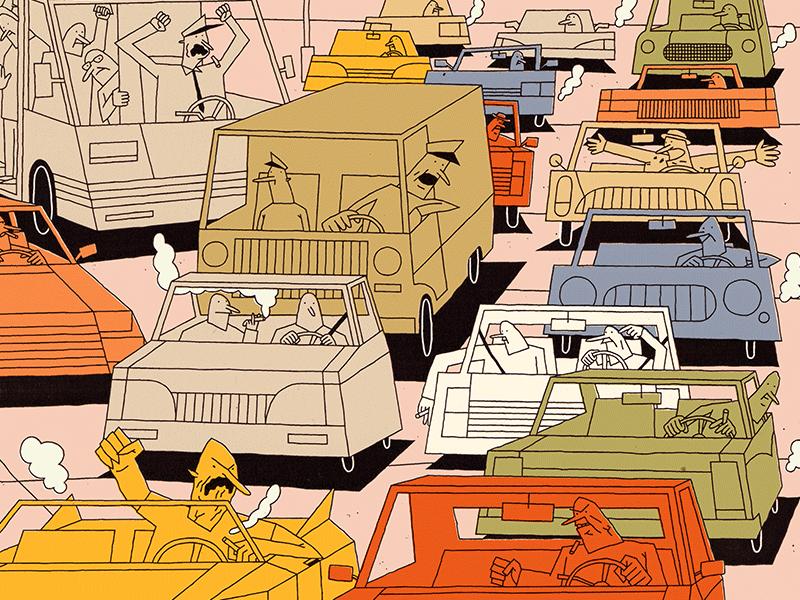 Situazione di traffico orribile furniture sofa life coach animal dog life city street jam traffic car illustration