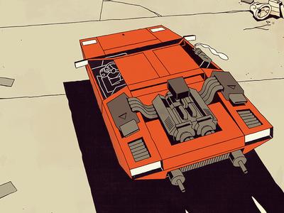FUTURO DARKO: Splash Page fire sky car comic book comic adventure journey trash highway road desert illustration