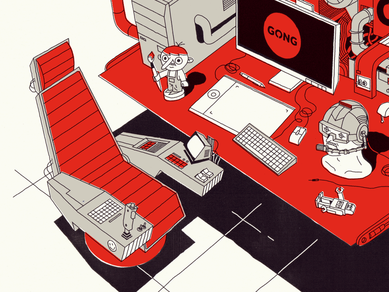 Space Pilot Cabin electronic future cabin screen pilot job space chair computer work desk illustration
