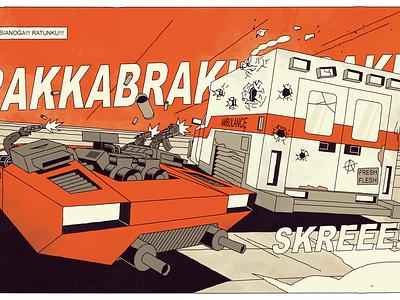 Trumpet's frame ambulance race futurodarko desert frame comic firing speed gun cars action chase