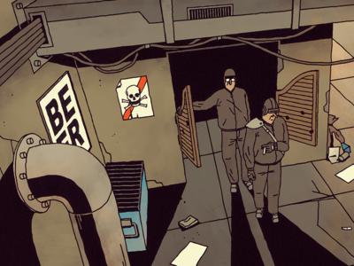 FUTURO DARKO: The Bar inside alcohol comic illustration dirt dark future beer people drink party bar