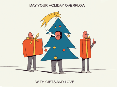 Christmas Tree ribbon smoke star love spurce guys balls illustration tree gift