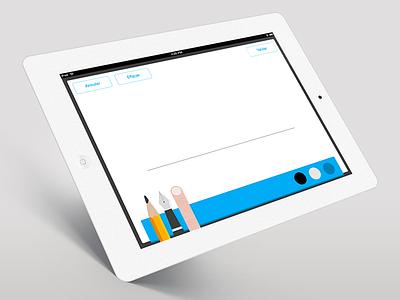 Signature électronique UI ios app ui design ipad palette sign pen flat finger