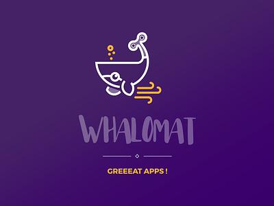 Logo Whalomat branding machine bot logo sea automaton whale