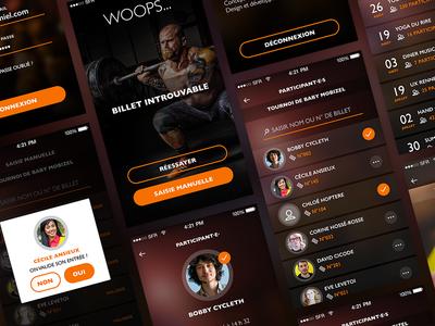 UI mobile app - Viteinscrit ios design blur app popin profile ticket ui mobile