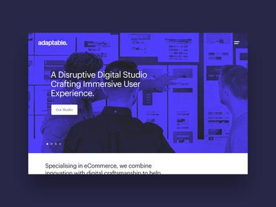 adaptable studio site clean simple blue duotone hero home folio portfolio studio agency design adaptable