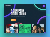 adaptable website 2017 adaptable design agency studio portfolio folio home hero duotone blue simple clean