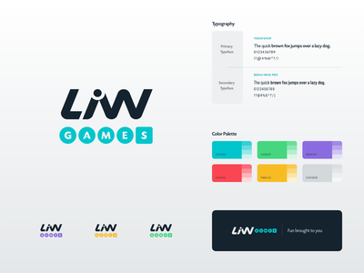 LiW Games Branding Card modular visual identity typeface color palette colorful simple design logo company client work branding