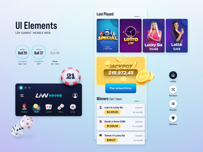 LiW Games UI Elements simple clean interface typogaphy atomic design design system branding logo client work jackpot winners lotto casino lobby gaming badges composition photo retouch icon set 3d icon illustration art ui