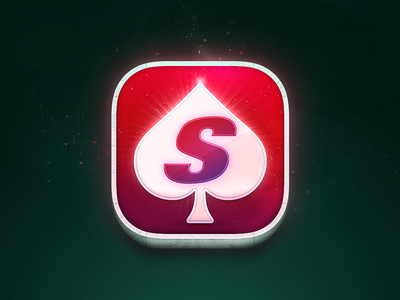 App Icon for SuperSport Poker wooden frame app icon particles glow spade 3d green red icon poker