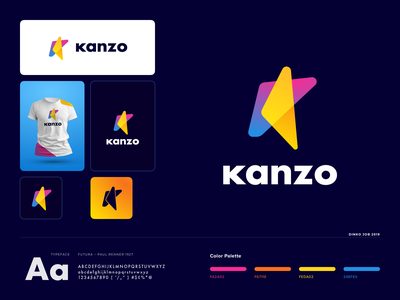 Kanzo logo design - K letter logo concept branding card client work branding brand designer logotipo social media digital marketing modern logo logo designer logotype logo mark letter k gradient icon brand identity company business agency branding app logo app icon