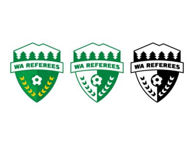 WA Soccer Referee Logo brand trees green design grapgic shield crest logo badge referee soccer