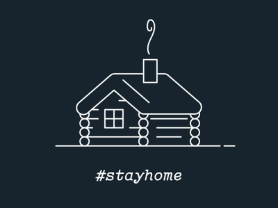 #stayhome line drawing camping hiking log cabin graphic geometric design vector illustration
