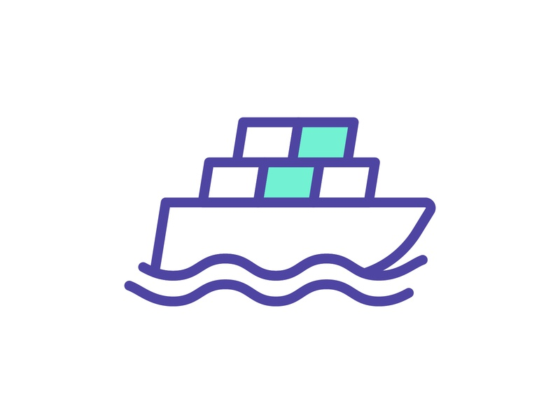 Putting the Ship in Shipping shipping container shipping boat ship freight logistics branding graphic geometric design vector illustration