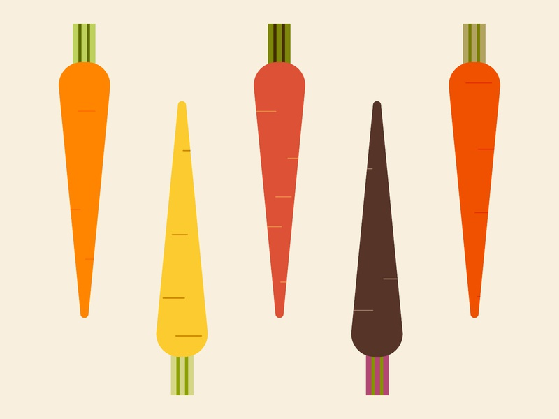 I'm Rooting for You! orange green sustainable geometric carrot vegetable vector illustration