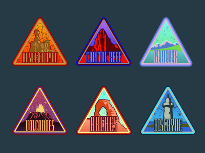 National Park Badges biscayne arches volcanoes glacier capitol reef bryce canyon designs badge nationalpark park national
