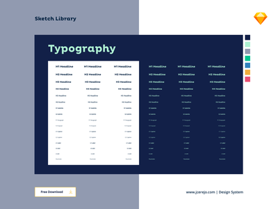 Typography Library - Design System button states buttons usability ui symbols atoms atom typography design ds h3 h2 h1 free freebie sketchapp sketch library design systems design system typography