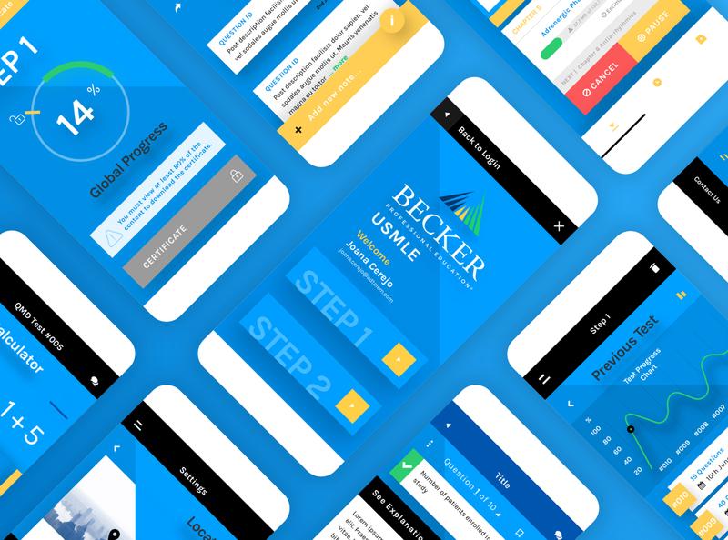 Design for Healthcare- USMLE App Redesign healthcare gui user interface blue learning app lms ui design uidesign ui app design app
