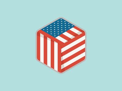 U.S. Hexagon Badge box flag stars and stripes hexagon usa