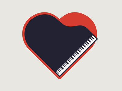 Love of Music minimalist flat piano heart