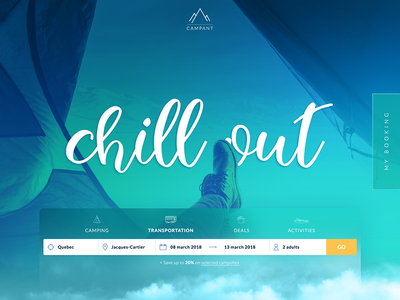 Campant - FREE Travel and Camping Website PSD Template gradients adobe photoshop template mockup free psd camping travel website user interface uxui