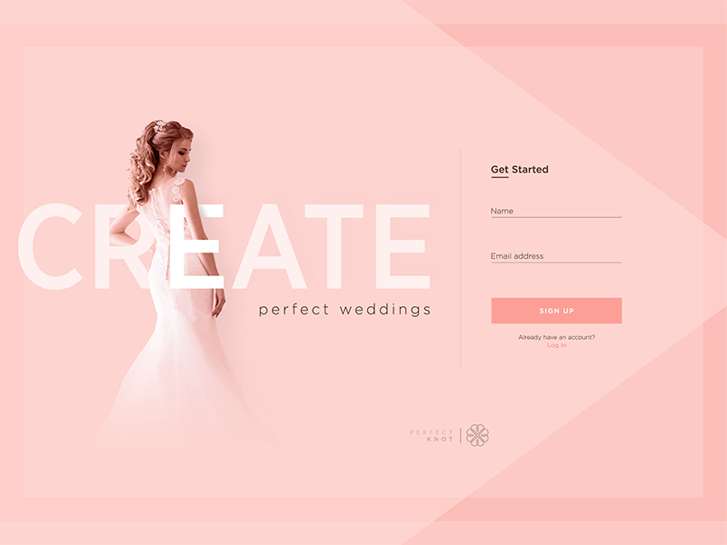 wedding planner landing page ui concept by pablo barzet