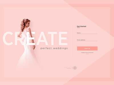 Wedding Planner Landing Page UI Concept perfect knot landing page adobe photoshop web design user interface gradients integrated typography uxui wedding planner wedding