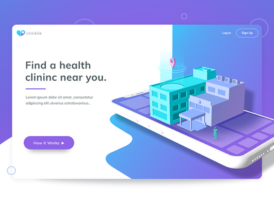 Cliniklik cliniklik gradients isometric clinic health healthcare ux.ui illustrtion 3d modeling