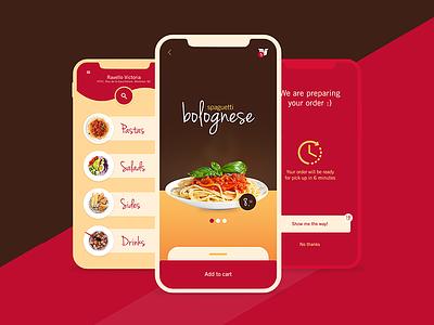 Ravello - Pasta to go! (UX/UI and art direction) italian food resto ui restaurant app drive-thru drive thru pasta delivery food to go food ui takeout food app pasta app pasta