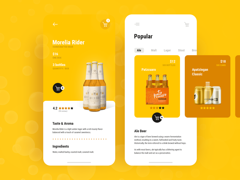 Beer Delivery App colorful take out delivery packaging flat ui ux app alcohol brown drinks yellow beer