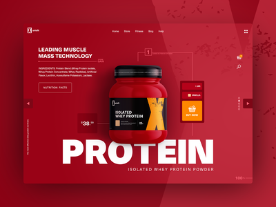 Whey Protein E-commerce UI gradients ui design ecommerce ui web ecommerce nutrition health supplement x-ariafit fitness muscle mass muscle protein bright red supplement whey protein e-commerce ecommerce ui ux